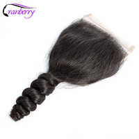 CRANBERRY Brazilian Hair Loose Wave Closure Human Hair Closure Swiss Lace Three/Middle/ Free Part 4*4 Lace Closure Remy Hair