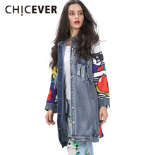 CHICEVER 2017 Back Graffiti Patchwork Long Denim Jacket Coat Female Spring Ripped Pockets Jeans Jacket Women Feminino Clothes
