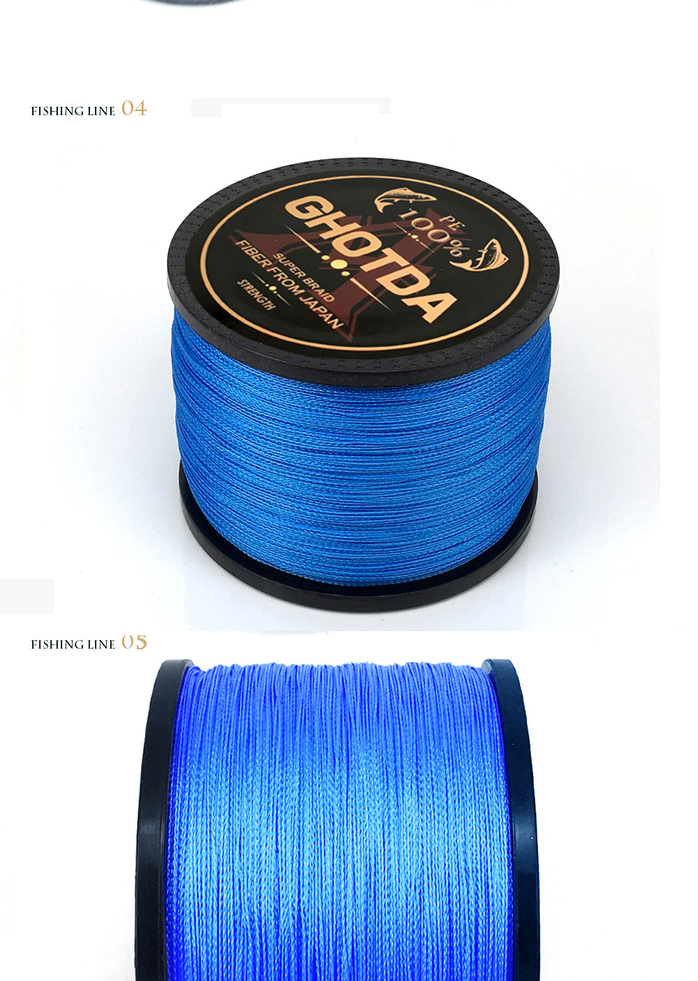 GHOTDA  Blue 4 Strand Braided Fishing Line for Freshwater and Sea Angling