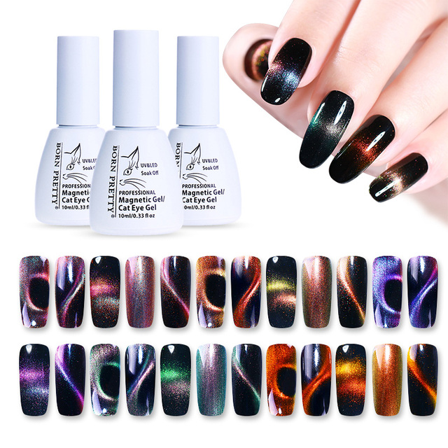 BORN PRETTY Holographic Chameleon Lacquer 3D Cat Eyes Magnetic Nail ...