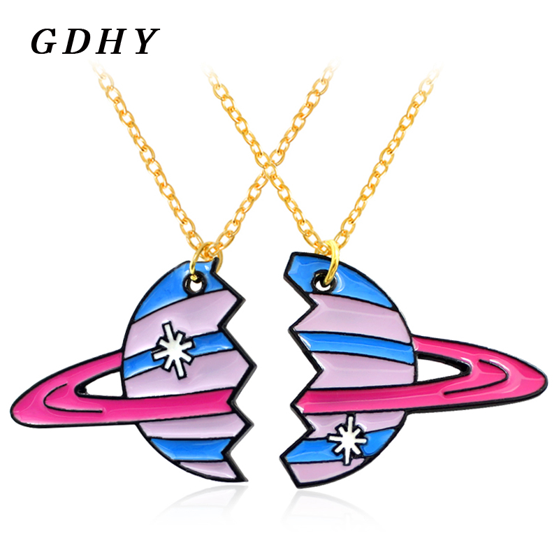 GDHY Planet Uranus Pendant Necklace Cartoon 2 Pieces A Pair Broken Planetary Planet Star Necklace Couple BFF Best Friends Gifts