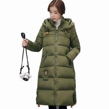 Women winter long cotton coat hooded jacket 2017 new thicker down cotton casual outerwear plus size