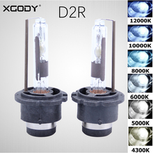 2Pcs XGODY D2R HID Xenon Replace Factory Headlight Bulb 35W 4300K 5000K 6000K 8000K 10000K 12000K Car Lamp Light Converter Base