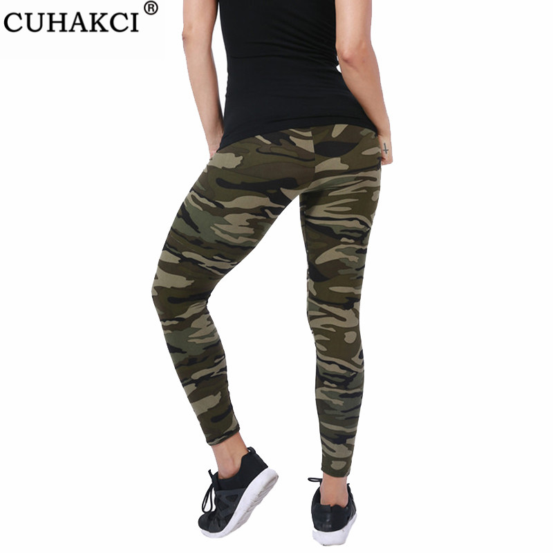 CUHAKCI Women Camouflage Leggings Fitness Military Army Green Leggings Workout Pants Sporter Skinny Adventure Leggins