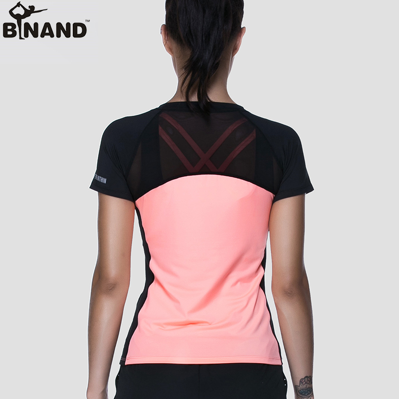 BINAND Women Yoga Shirts High Elastic Slim Workout Sports T Shirt Quick Dry Running Gym Fitness Breathable Yoga Sports Tops quick drying gym sports suits breathable suit compression top quality fitness women yoga sets two pieces running sports shirt