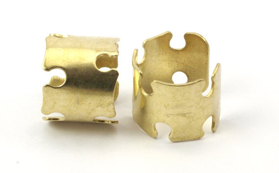10 Raw Brass Adjustable Ring Setting - 16-17mm  23 Gauge MN36