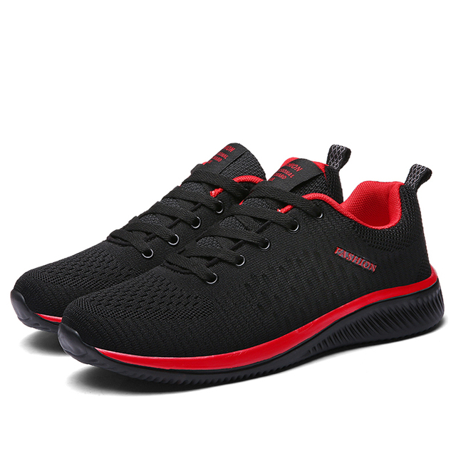 LINGGE New Mesh Men Casual Shoes Lace-up Men Shoes Lightweight Comfortable Breathable Walking Sneakers Tenis Feminino Zapatos