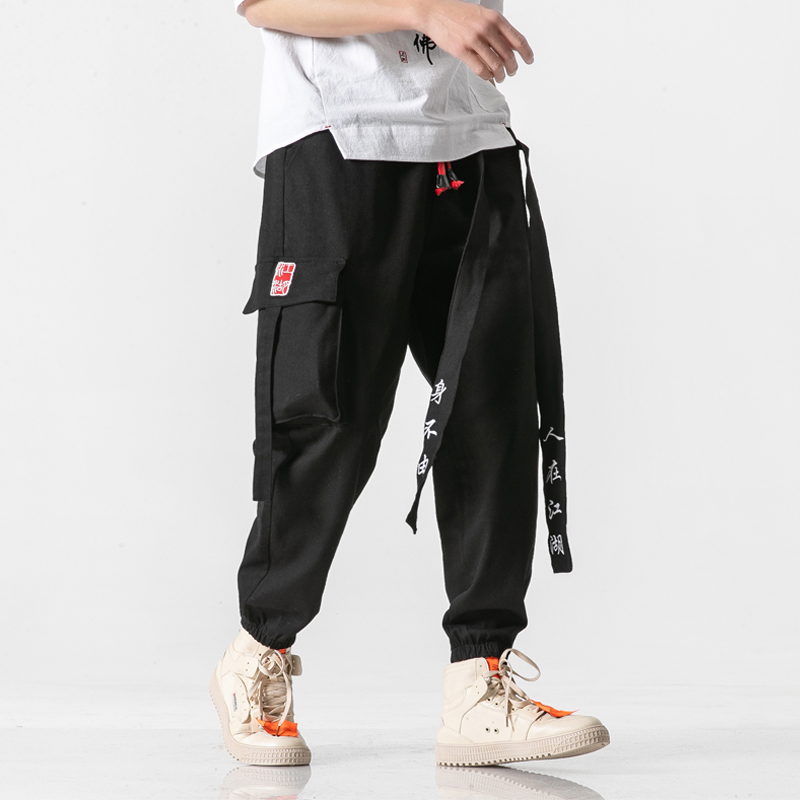 Men Ribbons Japanese Loose Casual Cargo Pants Male Streetwear Fashion Hip Hop Harem Trousers Joggers Sweatpants