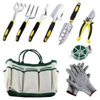 THGS Garden Tools Set,Hand Gardening Kit With A Plant Rope, Soft Gloves, A Garden Tote And 6 Pcs Garden Tools With Non Slip Ha