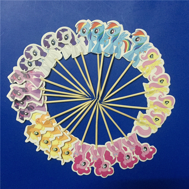 DIWEINI 24pcs My Little Pony Cartoon Figure DIY Cupcake Toppers Birthday Cake Party Supplies Wedding Decoration