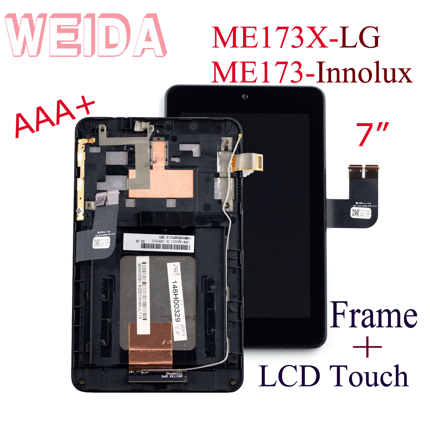 WEIDA LCD Display For Asus Memo Pad ME173 ME173X Touch Screen LCD Assembly Replacement With Frame K00B