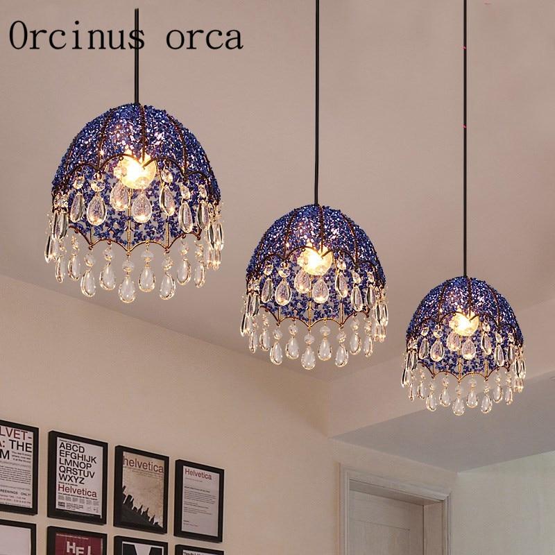 Simple European Mediterranean Modern Minimalist Glass Chandelier Creative Warm Crystal 3 Head LED Lamp Restaurant Postage Free