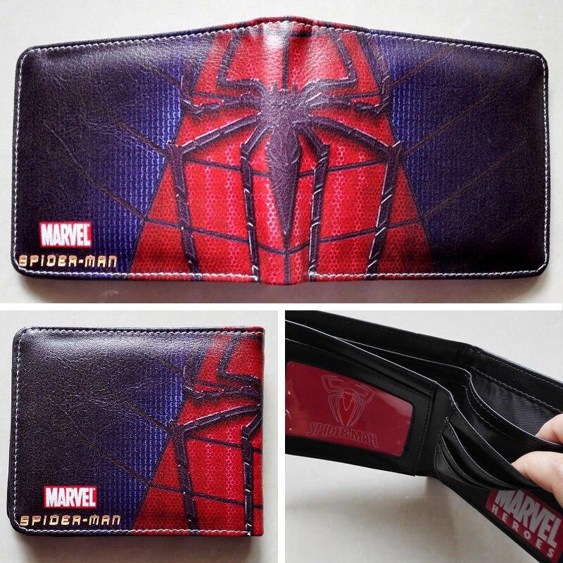 2018 Marvel Comics Spider-Man Spider Logo wallets Purse Multi-Color 12cm Leather W152 2018 games pacman games logo wallets purse multi color leather new hot w199