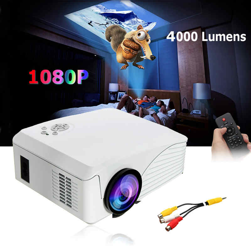 Portable 4000 Lumens HD 1080P 3D Multimedia Projector LED Home Theater USB With US PlugPortable 4000 Lumens HD 1080P 3D Multimedia Projector LED Home Theater USB With US Plug