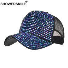 SHOWERSMILE Rhinestone Baseball Hats for Women Blue Bling Hat Diamond Female Summer Ladies Trucker Hat Mesh Cap Snapback Hip Hop(China)