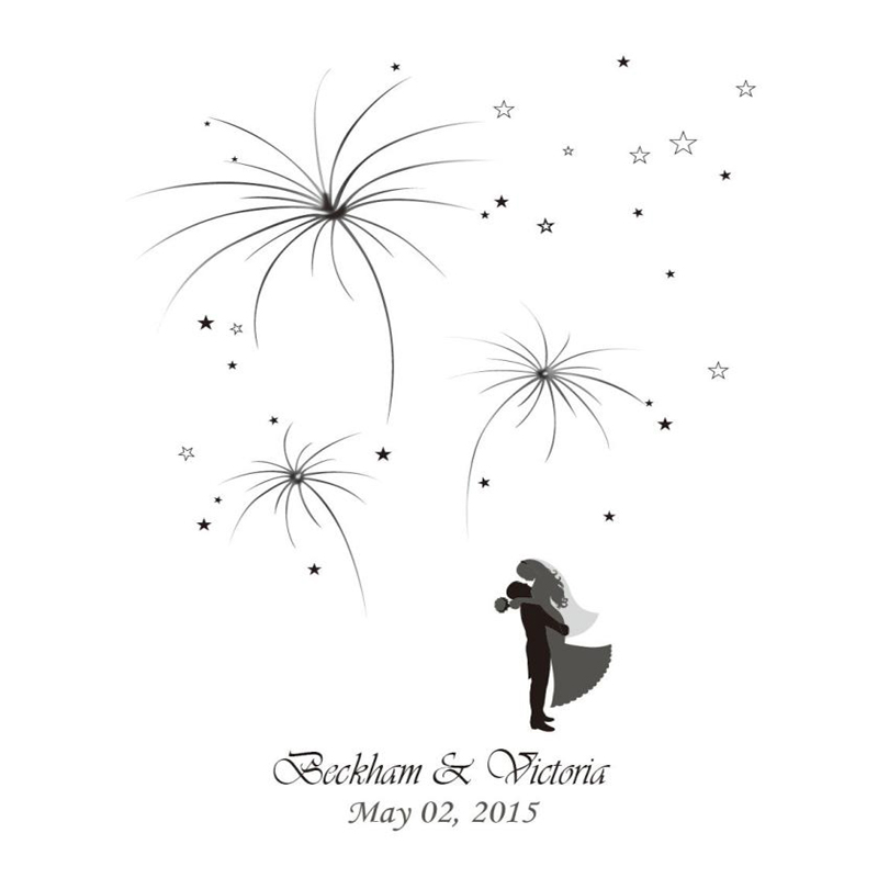 Pictures For Guests Fingerprints And Wishes: 42x52CM 100 Guests Unique Firework Wedding Guestbook