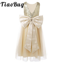 2020 Little Flower Girls Dresses for Weddings Baby Formal Party Sequined Bow Dress Kids Prom First Communion Tulle Dresses