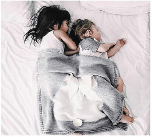 Baby Stroller Blanket Lovely Rabbit Crib Covers Accessories Kids Winter Knits Wool Blankets manta Bedding Kids bebek battaniye