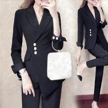 ee4ef60d87d Для женщин белый тонкий брючный костюм женский костюм платье Нотч Для  женщин Бизнес офисные смокинги куртка + брюки женский кост.
