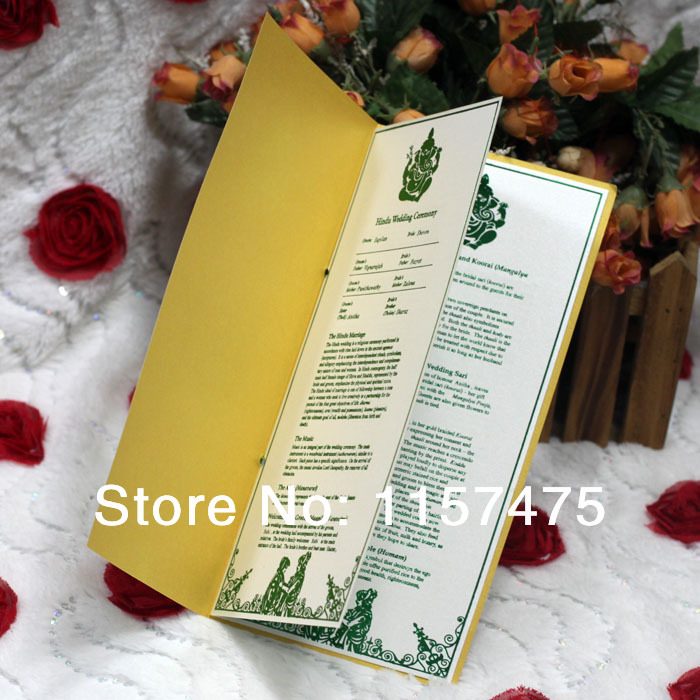 hi9003 customized wedding programs order of service with ribbon in