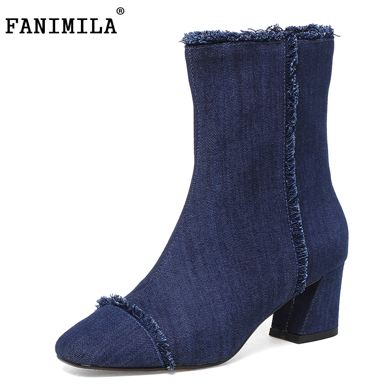 FANIMILA Size 33-43 Fashion Winter Shoes Women Thick High Heel Half Short Winter Boots For Women Zipper Denim Mid Calf Botas spring autumn women thick high heel mid calf boots platform woman short boots high heels shoes botas plus size 34 40 41 42 43
