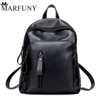 High Quality Leather Backpack Fashion Solid Backpacks For Teenage Girls School Bags Big Capacity Women Backpack