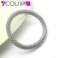 7 5MM Stainless Steel Metal Silver Stretch Bracelets Round Chains Women Man Stretch Mesh Bracelet Nice