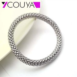 7 5mm stainless steel metal silver stretch bracelets round chains women man stretch mesh bracelet nice.jpg 250x250