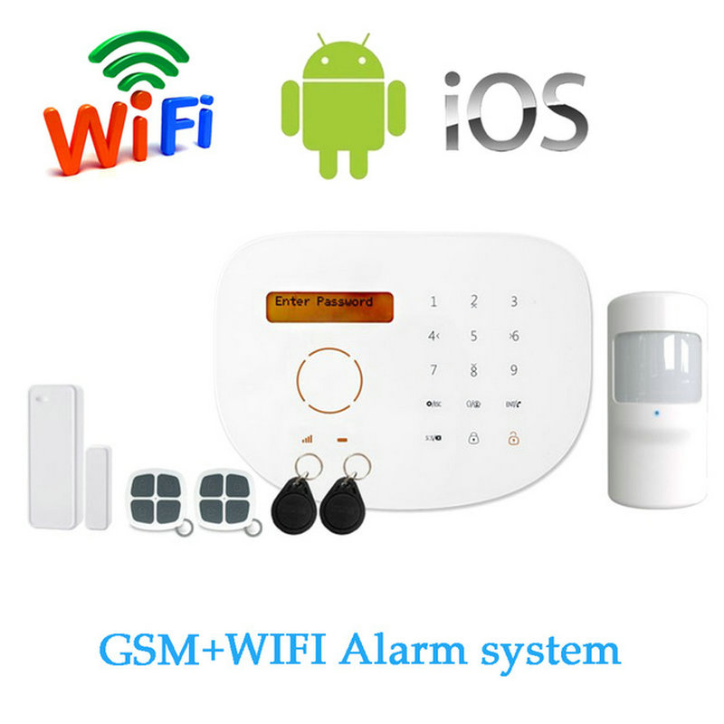 (1 Set) S2G Wireless GSM Alarm system with WIFI Function SIM SMS support APP Control LCD display and Touch panel RFID Card