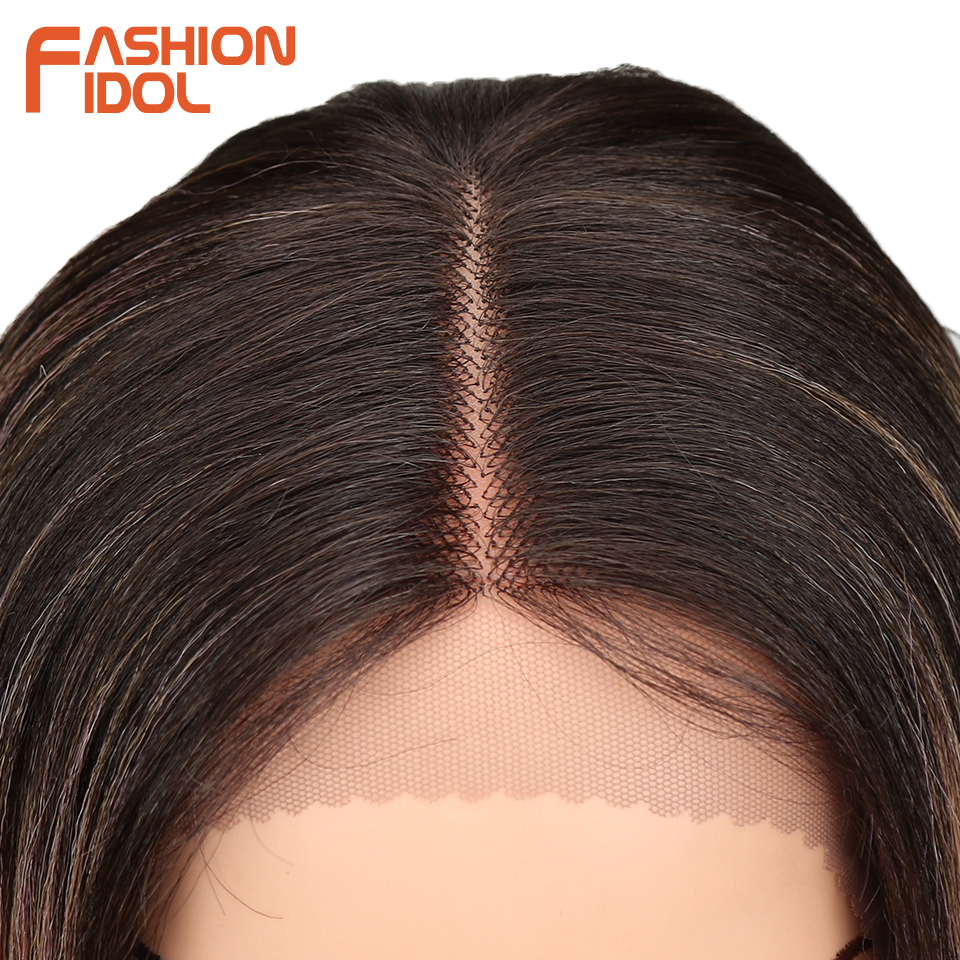 Image 5 - FASHION IDOL Synthetic Hair Lace Front Wig 26 Inch Long Straight Wig Ombre Black Pink Cosplay Wig Heat Resistant Synthetic Hair-in Synthetic Lace Wigs from Hair Extensions & Wigs