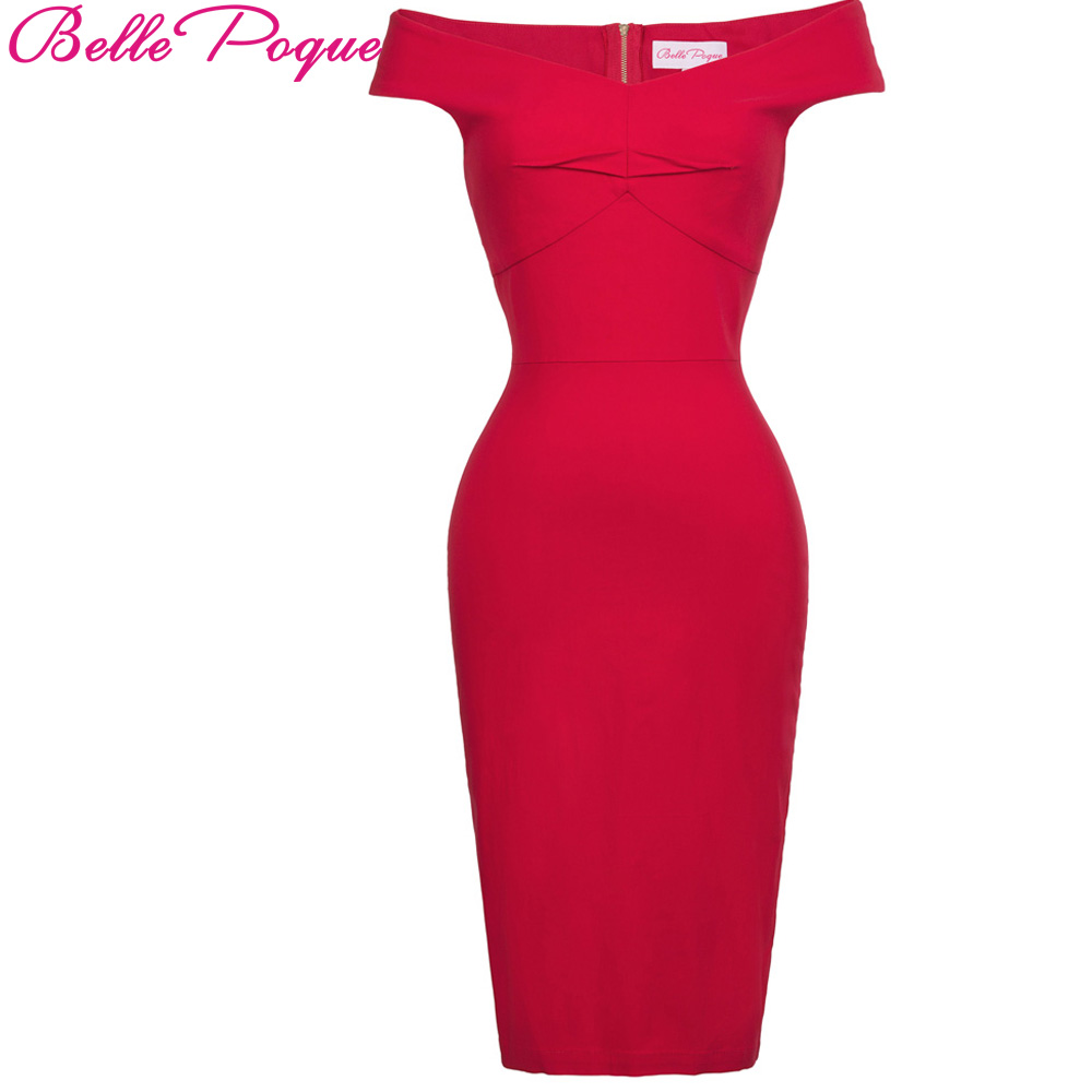 Belle Poque Summer Dress Womens 2017 Sexy Off Shoulder Red Big Size Bodycon  Slim Pencil Dresses f93bcd040b27
