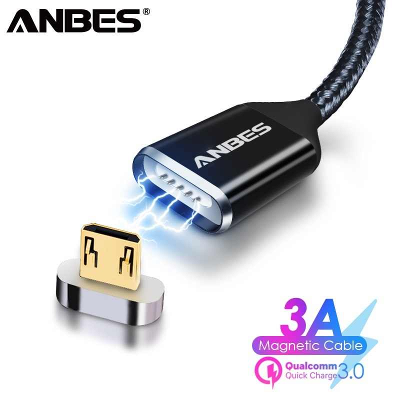 ANBES Magnetic Micro USB Cable For Xiaomi Huawei Android Mobile Phone Fast Charging Magnetic Charger Micro USB Data Cable