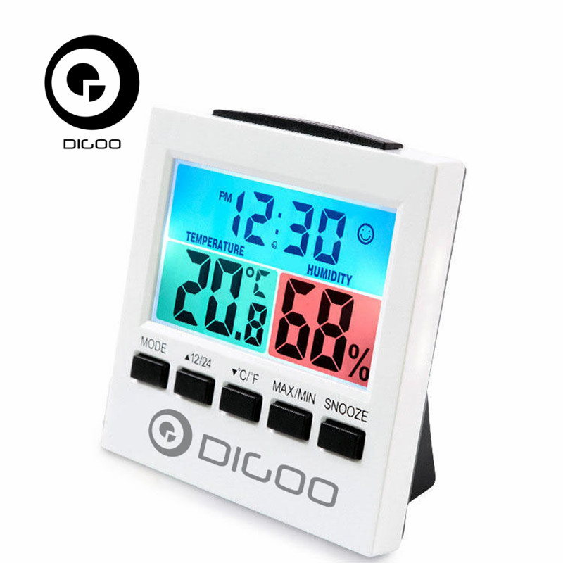 Digoo DG-C6 Digital Home Indoor Thermometer Hygrometer Humidity Monitor Gauge with Backlight Alarm Clock/ LCD Gauge Meter