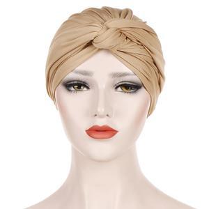 Image 3 - Muslim Women India Hat Muslim Hijab Ruffle Chemo Beanie Turban Islamic Wrap Cap Amira Plain Headscarf Hair Loss Hat Knot Bonnet