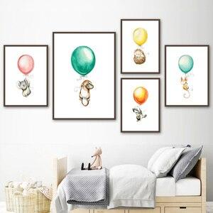 Image 2 - Carteles nórdicos de ratón y Koala con diseño de globo de canguro, erizo e impresiones, cuadro sobre lienzo para pared, imágenes para decoración de habitación de bebé, niña y niño