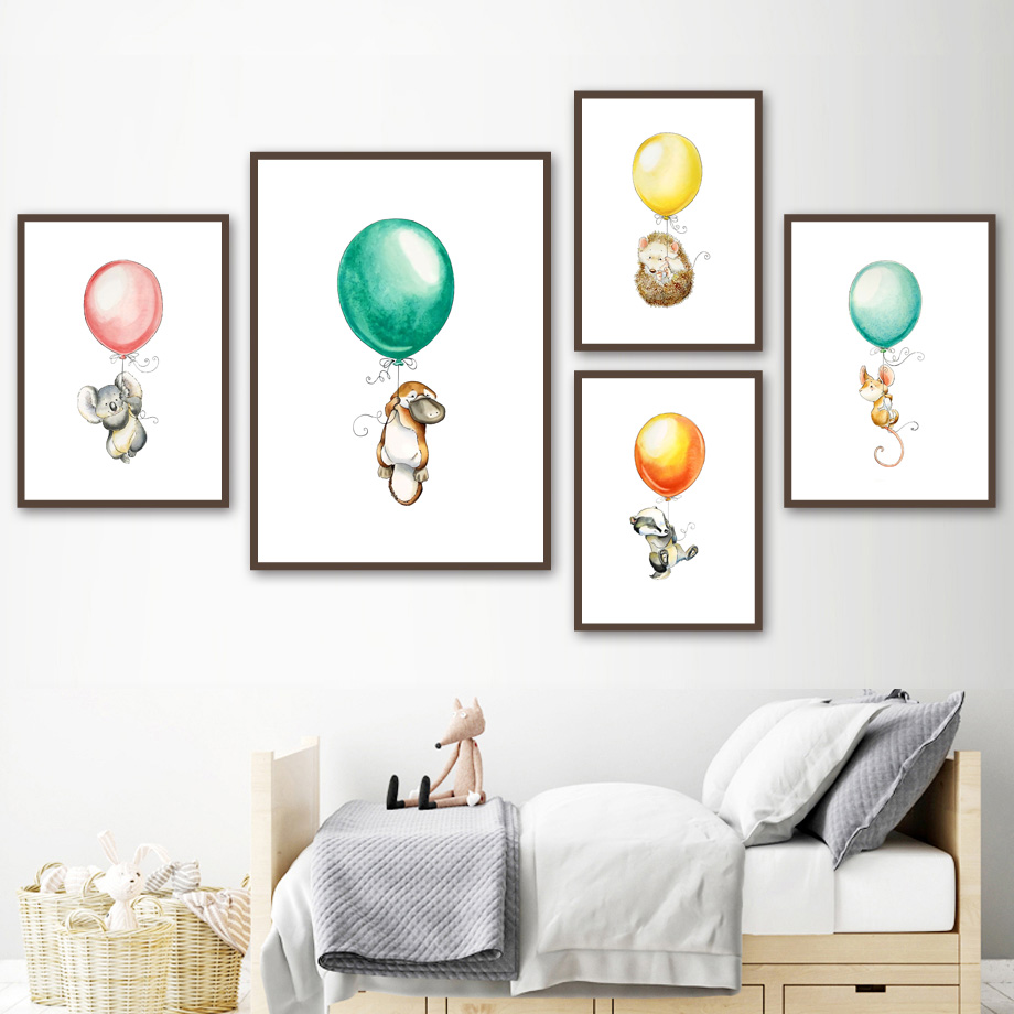 Image 2 - Mouse Koala Hedgehog kangaroo Balloon Nordic Posters And Prints Wall Art Canvas Painting Wall Pictures Baby Girl boy Room Decor-in Painting & Calligraphy from Home & Garden