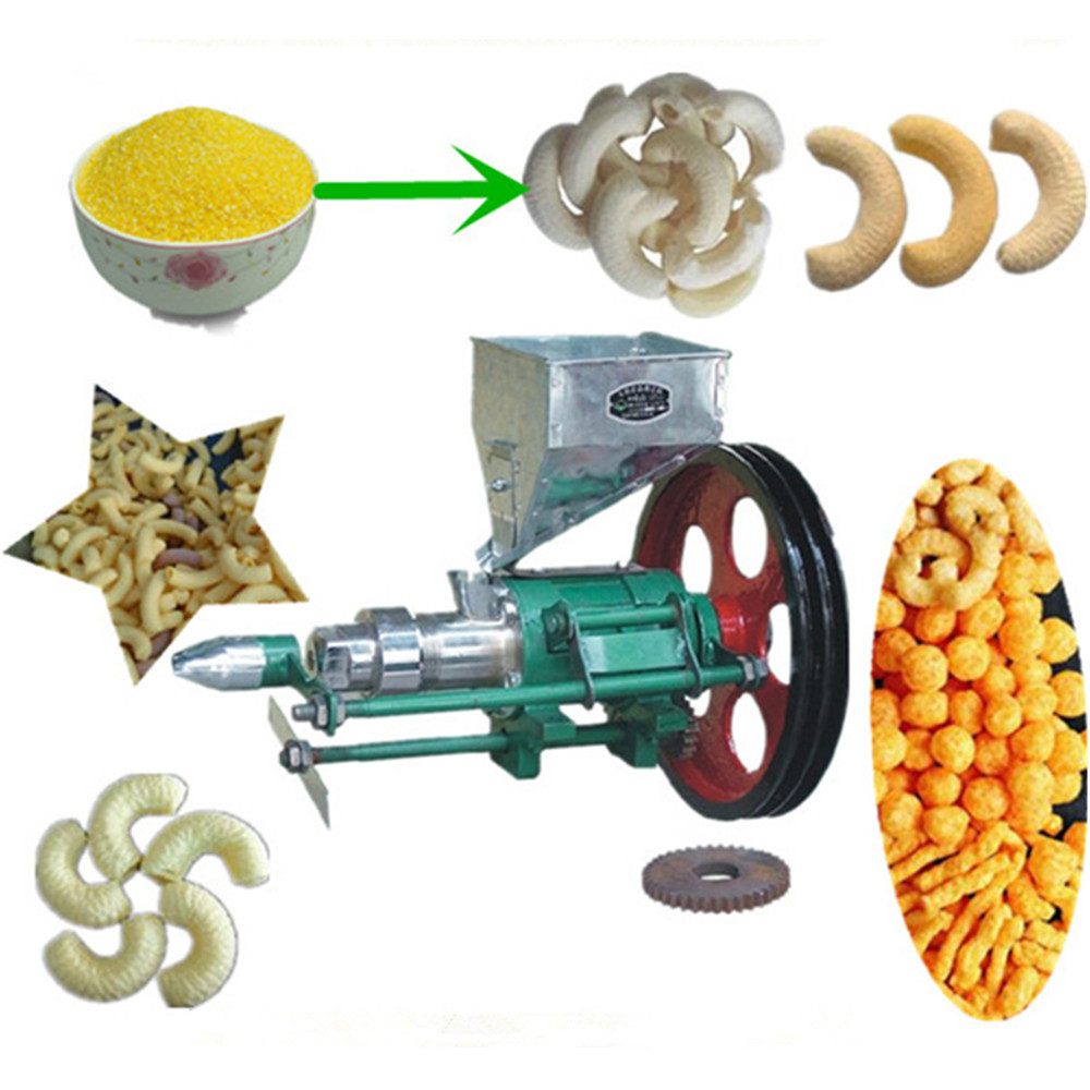 Corn puffed snack extruder rice extrusion machine small electric bulking machine for rice and maize hot sale popper ZF 6molds snack food corn puffed extruder making machine rice corn extruder 100 120kg h extrusion making machine with motor