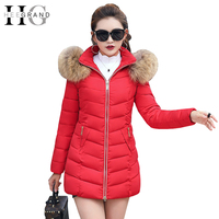 HEE GRAND Winter Women Cotton Parkas Fur Collar Elegant Overcoat Snow Coat Warm Thickness Feathers Hooded