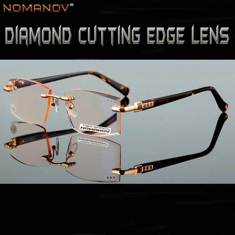 = NOMANOV MARKE = Business elite stil Männer frauen unisex diamant geschnitten made Braun linsen lesebrille + 1 + 1,5 + 2 + 2,5 + 3