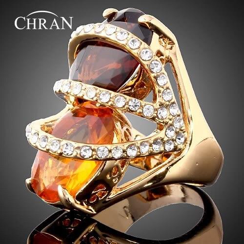 Chran полые Дизайн шампанского Crystal обещал Кольца ювелирные изделия Золотой Цвет кубического циркония свадебные Кольца