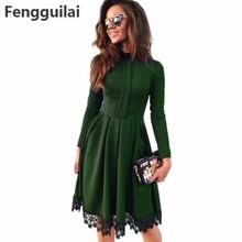 Women Dress New Fashion Autumn Vintage Long Sleeve Green Red Purple O -Neck Lace Patchwork Party Dresses Plus Size