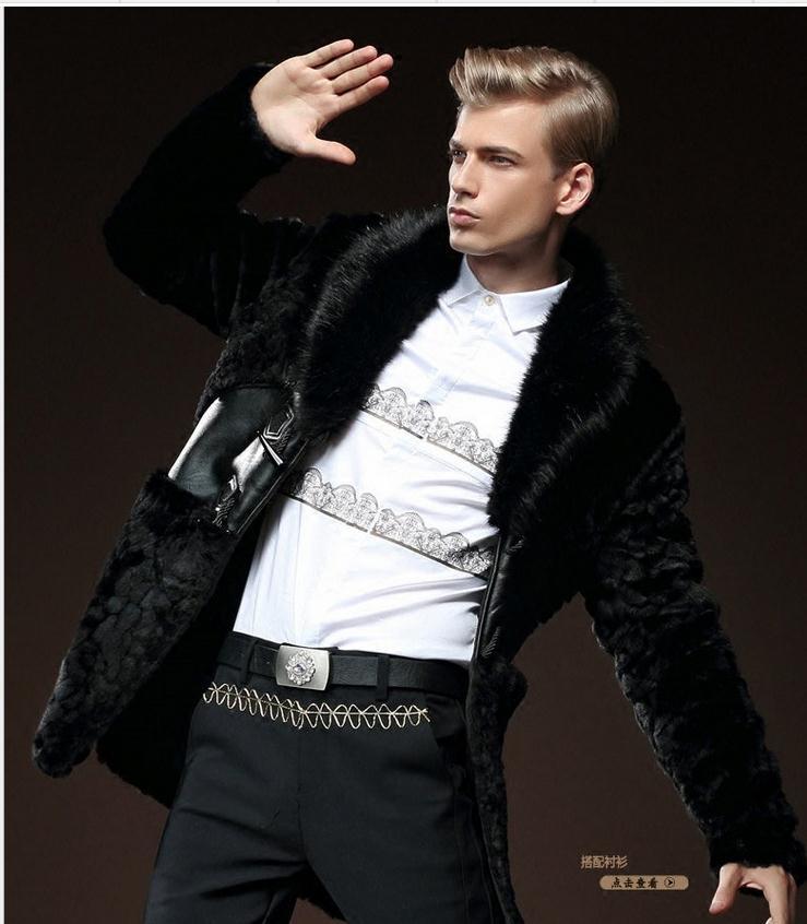 S/5xl мужские искусственной норки Мех животных длинная куртка с секциями Зимние ботфорты Пальто для будущих мам черный теплый большой Размер...