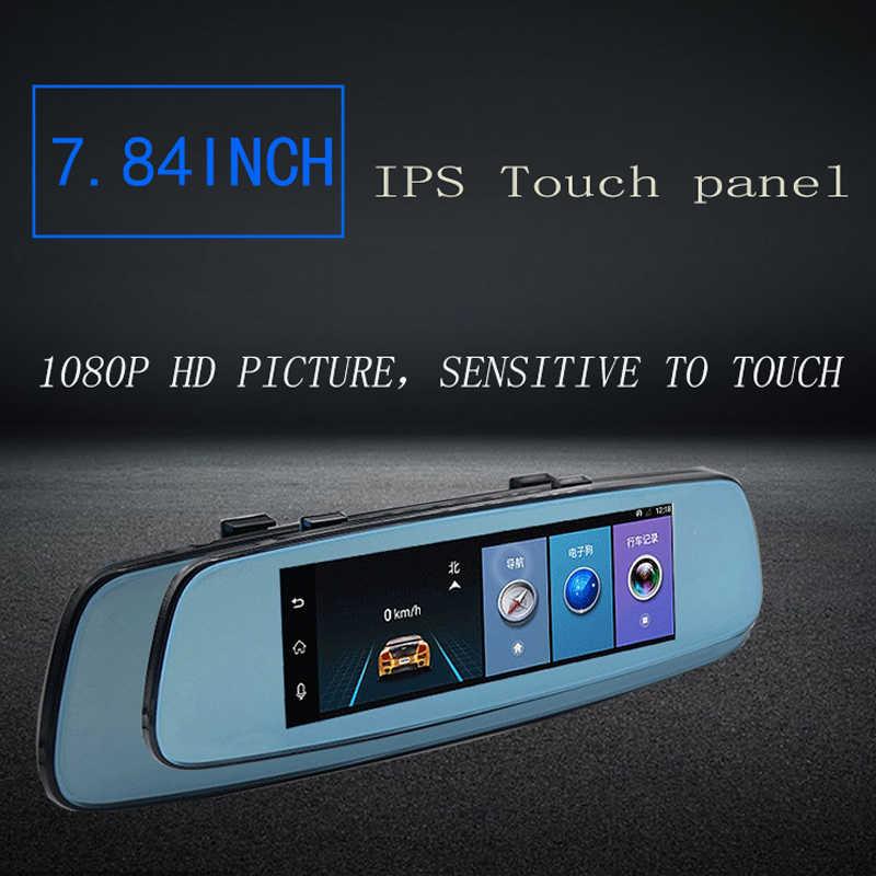 "OTFPlus H08 4G/3G جهاز تسجيل فيديو رقمي للسيارات مرآة 7.84 ""الروبوت 5.1 GPS داش كامير فيديو محرك مسجل الرؤية الخلفية مرآة مع DVR و كاميرا"