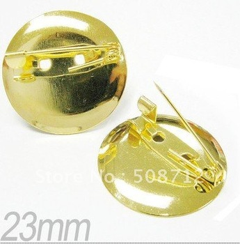 Free shiping!!!!!!! Bronze plated metal basic round brooch 23mm fit 20mm