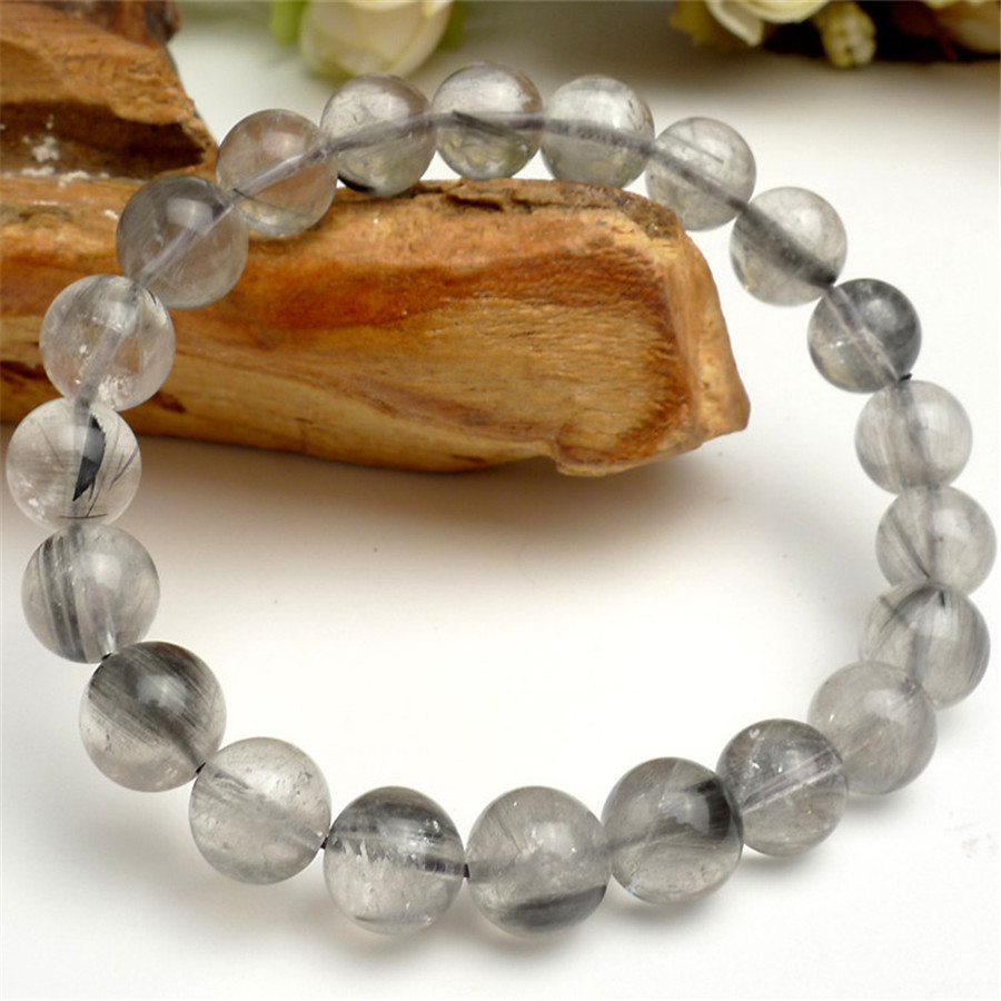 9.5mm Genuine Natural Needle Hair Rutilated Quartz Crystal Stretch Charm Fashion Jewelry Women Ladies Round Bead Bracelet genuine natural copper hair rutilated quartz crystal women stretch charm round stone bead bracelet 8mm
