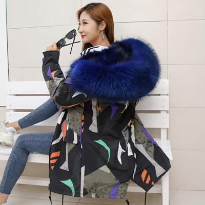 Jacket Women Winter Parkas Long Big Fox Fur Collar Hooded Coats 2018 Ladies Fur Linen Thickened Warm Jackets Plus Size Coat LZ962 (12)