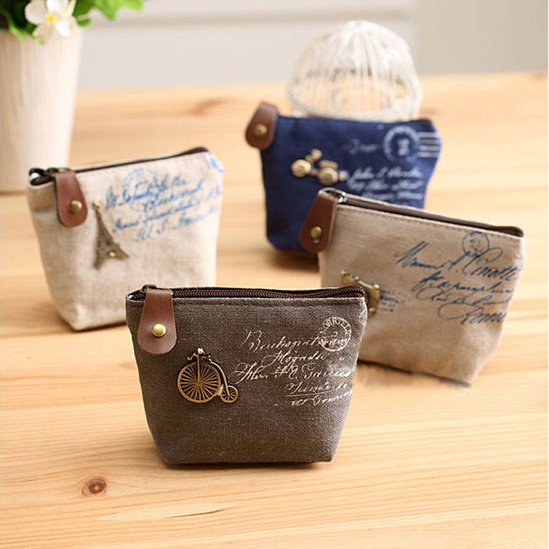 Ladies Cheapest Canvas Classic Retro Small Change Coin Purse Little Key Car Pouch Money Bag, Girl's Mini Short Coin Holder Wallet