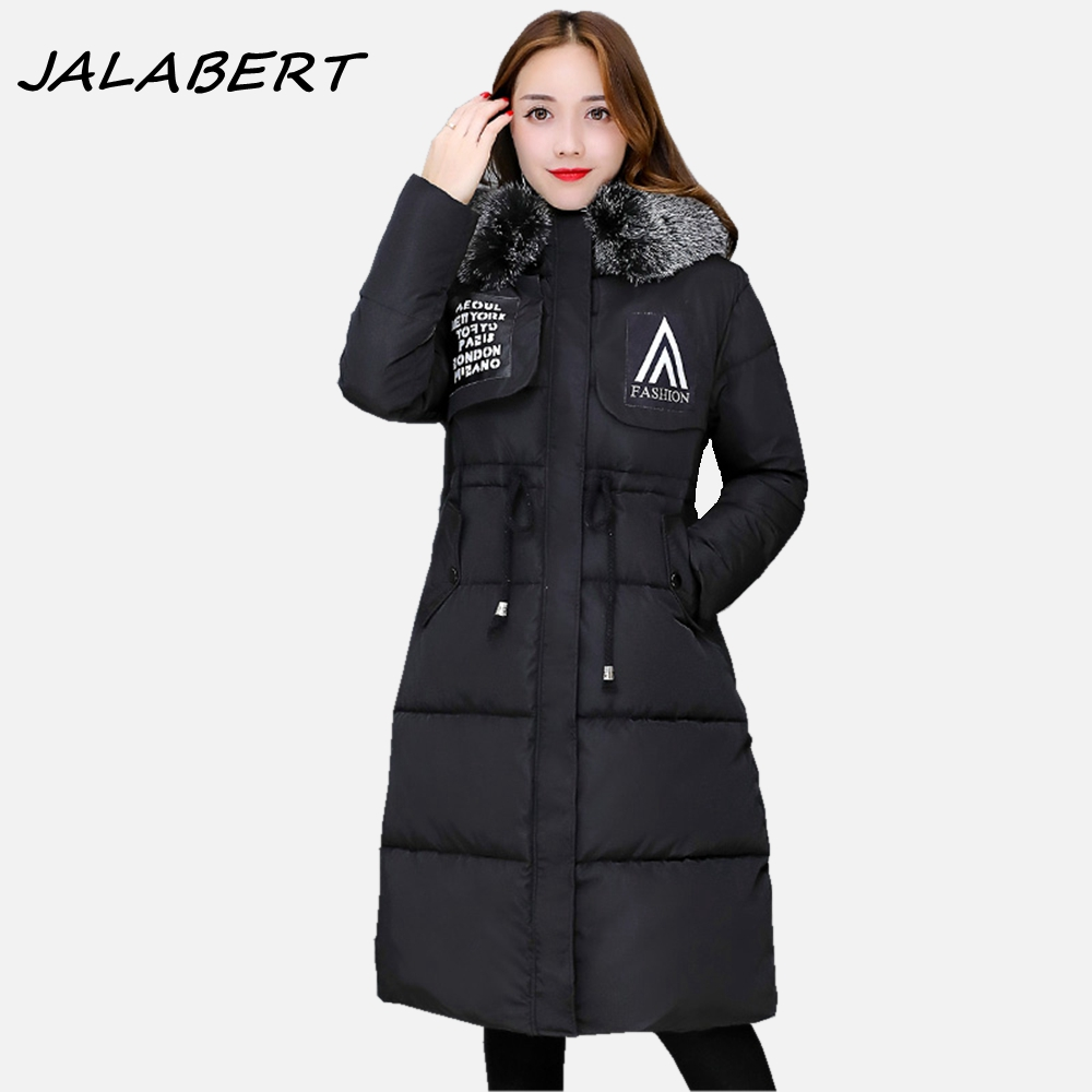 2017 winter new long slim big fur collar pleated pattern casual hooded warm jacket female solid cotton coat parkas 2017 new winter cotton coat women long slim fashionable hooded big fur collar jacket female letter pattern warm parkas