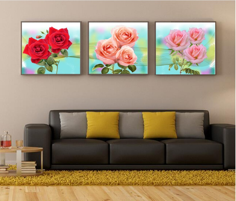 3 Pieces Fashion Romantic Rose Ornament Canvas Paintings Print Picture for Living Room Decoration No Framed