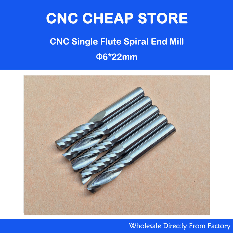 "5pcs 6mm 1/4 ""frese in metallo duro di alta qualità con frese a un flauto singolo 22mm"
